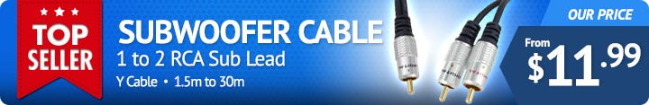 Subwoofer Cable 1RCA to 2RCA