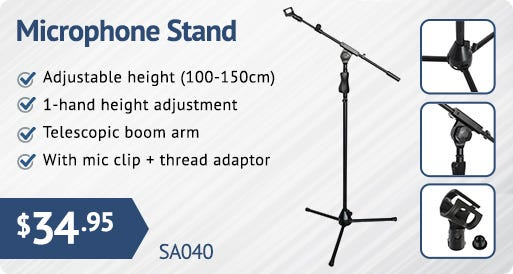 Heavy Duty Microphone Stand Telescopic Boom Arm Tripod Base