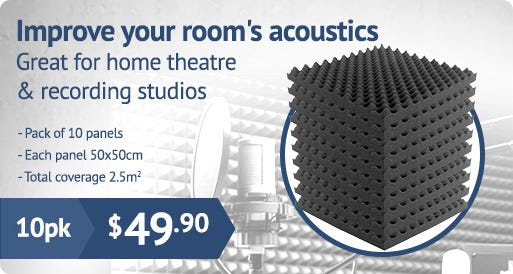 Sound foam for improving a room's acoustics.