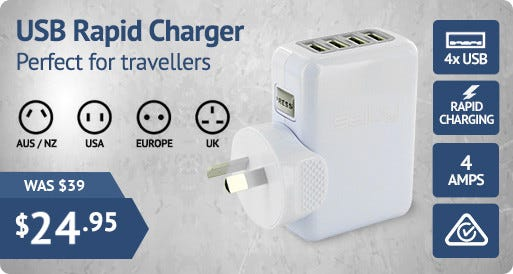 Boasting 4 USB ports and adaptors for several countries (including AUS)