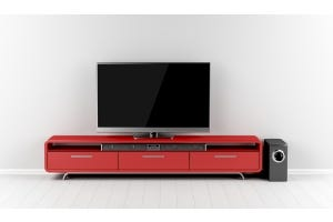 wall-mounted TV with soundbar and subwoofer