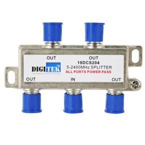 Digitek 4-Way F-Type Splitter 5-2400MHz 10DCS204