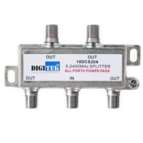 Digitek 4-Way F-Type Splitter 5-2400MHz 10DCS204