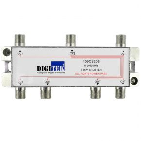 Digitek 6-Way F-Type Splitter 5-2400MHz 10DCS206
