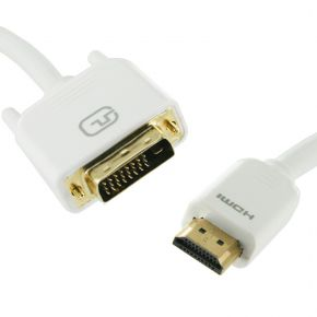 1m HDMI Male to DVI-D Male Cable White Dual Link for LCD Screen PC Monitor HD4354W1M