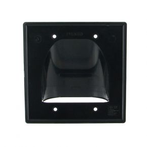 Double Gang Bull Nose Wall Plate Cable Management Black BN252B