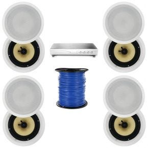 4-Zone 8-Speaker Pack with 8-Inch In-Ceiling Speakers Kevlar Cone