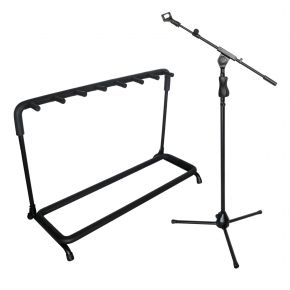 Microphone Stand with Adjustable Boom and Microphone Clip + Electric/Acoustic/Bass 7 Guitar Rack Stand