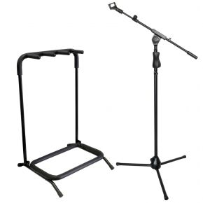 Microphone Stand with Boom and Mic Clip + 3 Guitar Rack Stand for Electric Acoustic Bass Guitars