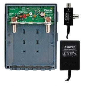Kingray Wideband VHF/UHF Masthead Antenna Amplifier Booster + 17.5V AC 100mA Power Supply