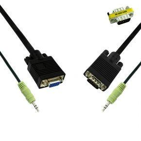 5m Avico VGA Cable Male Plug to Female Socket + Integrated Stereo 3.5mm Audio Lead CC1305