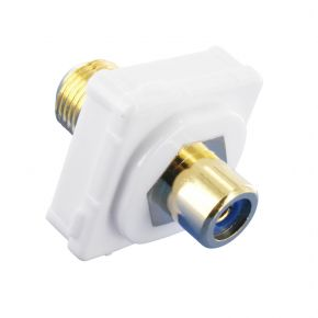 Digitek RCA Female Blue to F Female Terminal Connector For Custom Wall Plate Gold Plated 05BC1B