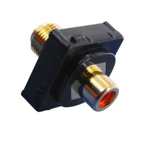 Digitek RCA Female Red to F Female Terminal Connector For Custom Wall Plate Gold Plated / Black 05BC1RBK