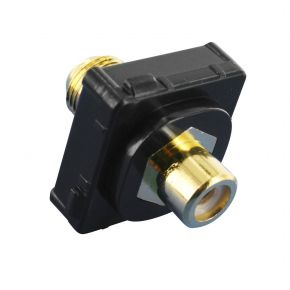 Digitek RCA Female White to F Female Terminal Connector For Custom Wall Plate Gold Plated / Black 05BC1WBK