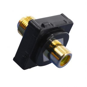 Digitek RCA Female Yellow to F Female Terminal Connector For Custom Wall Plate Gold Plated / Black 05BC1YBK