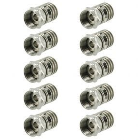 10pk F-Type Crimp Connectors for RG6 Coaxial Antenna Cable FCRIMP10