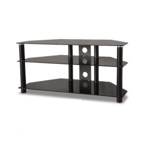 3-Shelf TV Stand 1100mm Wide Black Glass FS101B
