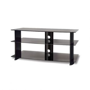 3-Shelf TV Stand 950mm Wide Black Glass FS1029544