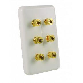 Neotech Origin 3 Speaker Banana Plug Wall Plate White NSP64