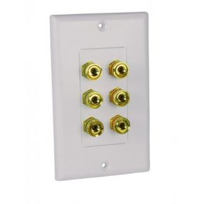Avico Banana Plug Wall Plate for 3 Speakers SWP64