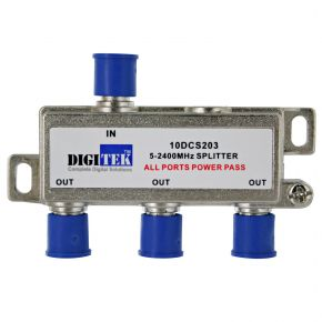 Digitek 3-Way F-Type Splitter 5-2400MHz 10DCS203