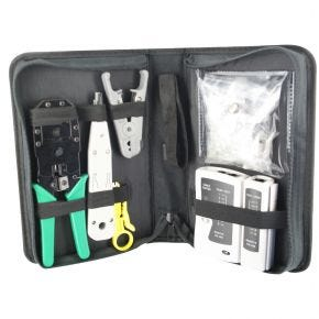 Network Cable Tool Kit with Tester, Crimper, Stripper, Cutter, Fittings for RJ11 RJ45 CTKIT3