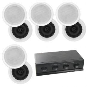 8 x 6.5inch Selby In Ceiling Polyprop Speakers plus 4-way Speaker Switch CS607 A1006