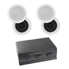 "4 x 6.5"" In Ceiling multi room Home Theatre Poly Speakers plus 3-way Switch"