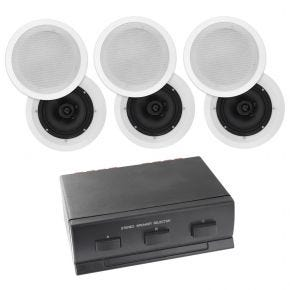 "6 x 6.5"" In Ceiling multi room Home Theatre Poly Speakers plus 3-way Switch"