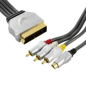 1.5m ISIX Pro SCART Lead Cable to 3RCA AV & SVHS S-Video Switchable In Out IQC2140