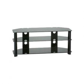 3-Shelf TV Stand 1200mm Wide Black Glass K110BB
