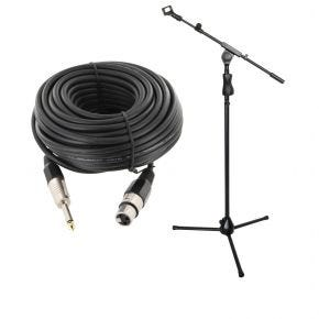 Microphone Stand with Adjustable Boom and Microphone Clip + 10m XLR Female 6.5mm Microphone Lead