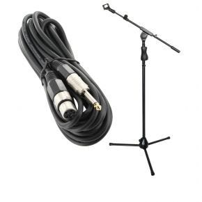 Microphone Stand with Adjustable Boom and Microphone Clip + 5m XLR Female 6.5mm Microphone Lead