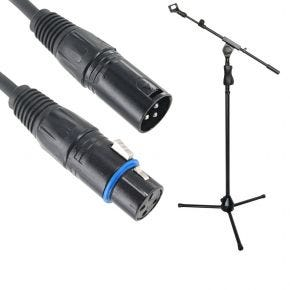 Microphone Stand with Adjustable Boom and Microphone Clip + 15m 3-Pin XLR Balanced Microphone Lead
