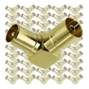 100x Right Angle PAL Male to PAL Female TV Antenna Connector Adaptor Bulk Pack