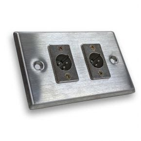 Avico Dual XLR Male Microphone Stainless Steel Wall Plate MWP342