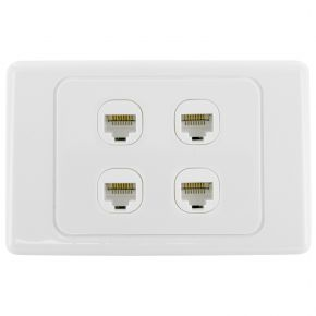 4-Port CAT6 Network Punch Down Wall Plate