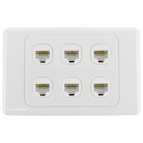 6-Port CAT6 Network Punch Down Wall Plate