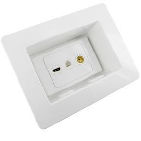 Recessed Wall Plate with HDMI, Network, TV Antenna Socket