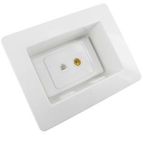 Recessed Wall Plate with Network and TV Antenna Socket