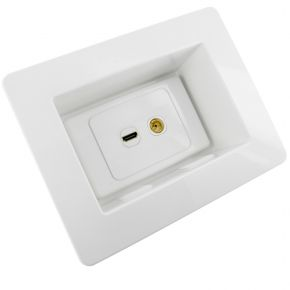 Recessed Wall Plate with HDMI and TV Antenna Socket