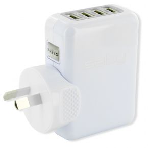 4-Port USB Charger Travel Adaptor 4 Amps for 4 Devices TCSA4U