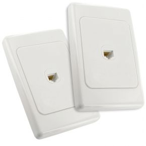 Pair of CAT6 Network Cable Wall Plates White