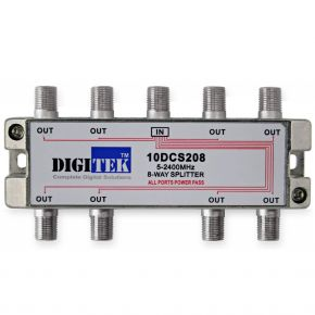 Digitek 8-Way F-Type Splitter 5-2400MHz 10DCS208