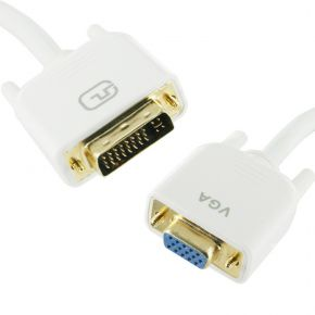 1m DVI-I Male to VGA Female Cable White Dual Link for LCD Screen PC Monitor DV4384W1M