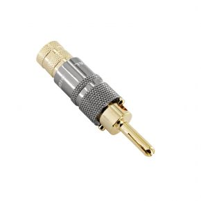 24k Gold Plated Heavy Duty Locking Banana Plugs White 9 AWG BP0575B