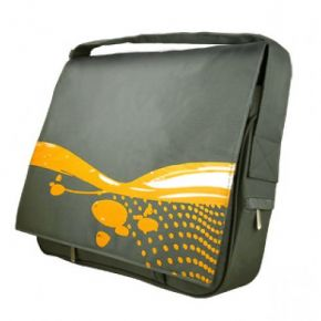 "15"" Laptop Notebook Messenger Bag Padded Yellow & Grey Hipster Retro Style ANBB007GY"