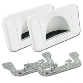 2 Pack Bull Nose Wall Plates for Cable Management (White) BULLPRWH