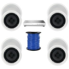 4-Zone 8-Speaker Pack with 8-Inch In-Ceiling Speakers Carbon Cone
