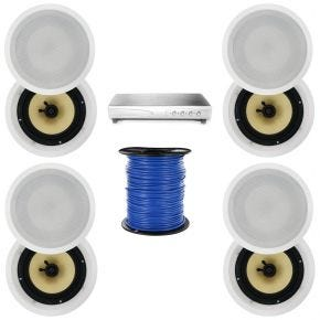4-Zone 8-Speaker Pack with 6.5-Inch In-Ceiling Speakers Kevlar Cone